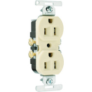 Pass & Seymour 3232ICACC20 15 Amp 125 Volt Ivory 2 Pole 3 Wire Grounding Copper/Aluminum