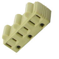 Pass & Seymour 697ICC20 15 Amp 125 Volt Ivory 2 Pole 3 Wire Grounding Plug In Triple Outlet Adapter