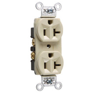 Pass & Seymour CRB5362ICC12 20 Amp 125 Volt Ivory 2 Pole 3 Wire Grounding Heavy Duty Duplex Outlet