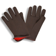 Cordova 4027 Brown Jersey Red Fleece Lined Poly Cotton Gloves Large