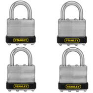 National Hardware S203-406 Stanley Laminated Padlock 1-9/16 Inch 40Mm Hardened Shackle Zinc Plated Steel 4 Pack