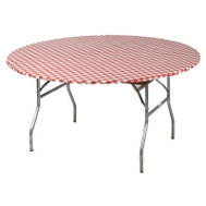 Kwik Covers 60PKRW 60 Inch Round Red Gingham Table Cover