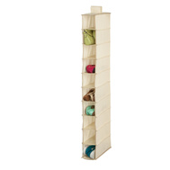 Honey Can Do SFT-01254 10 Shelf Hanging Shoe Organizer Natural Color