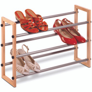 Honey Can Do SHO-01372 Rack Shoe 3-Tier Wood/Metal