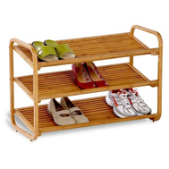 Honey Can Do SHO-01599 Deluxe Bamboo 3 Shelf Shoe Rack