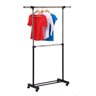 Honey Can Do GAR-01767 Expandable Dual Rod Garment Rack Chrome And Black