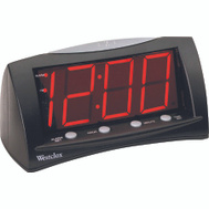 Westclox 66705 Clock Alarm Lcd Lg Dsply Red