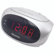 Westclox 70044B 6 Inch White Led Alarm Clock