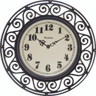 Westclox 32021 Clock Wall Wrought Iron Style