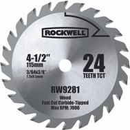 Rockwell RW9281 4-1/2 Inch Carbide Tip Blade For Compact Circular Saw RK3441K