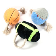 Hugfun 220152-154 Sports Dog Toys With Ropes And Squeakers 3 Piece Set