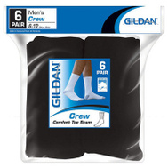Gildan Branded Apparel Srl 1048607 6PK BLK Crew Socks