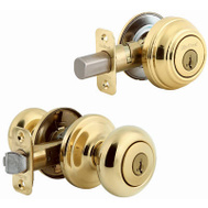 Kwikset 991J 3 SMT CP K4 Juno Keyed Entry And Single Cylinder Deadbolt Smartkey Polished Brass