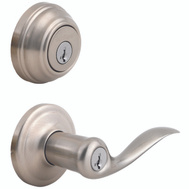 Kwikset 991TNL 15 SMT Tustin Keyed Entry Lever And Single Cylinder Deadbolt Smartkey Satin Nickel