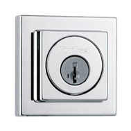 Kwikset 993 SQT 26 SMT CP SCAL Signature Series Contemporary Square Single Cylinder Smartkey Deadbolt Polished Chrome Square Corner Latch