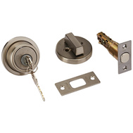 Kwikset 993 RDT 15 SMT SCAL Signature Series Contemporary Round Single Cylinder Smartkey Deadbolt Satin Nickel Square Corner Latch