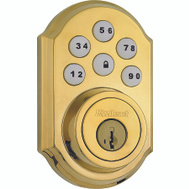 Kwikset 909 LO3 SMT CP Electronic Traditional Touchpad Plus Smartkey Deadbolt Lifetime Brass