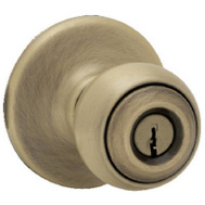 Kwikset 400P 5 CP Polo Keyed Entry Lockset Antique Brass
