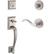 Kwikset SC.NAPXCUR.R.TRR.150 Baldwin Baldwin Reserve Single Cylinder Handleset Napa With Curve Lever Round Rose In Satin Nickel Finish Right