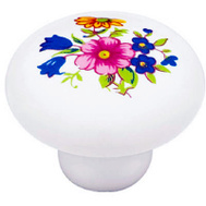 Brainerd P95712V-WF-C7 / 69336 Ceramic Cabinet Knob White With Floral Design