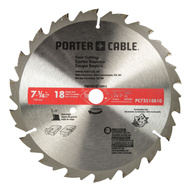 Porter Cable PC72518 B10 7-1/4 Inch 18 Tooth Circular Saw Carbide Tooth Fast Cut Blade With 5/8 Inch Arbor