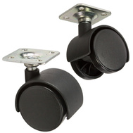 National Hardware S846-331 Stanley 1-5/8 Inch Black Twin Wheel Plate Casters 2 Pack