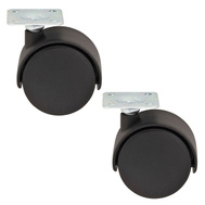 National Hardware S846-339 Stanley Twin Wheel Plate Casters 2 Inch Black 2 Pack