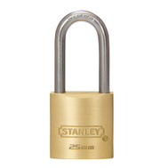 National Hardware S824-669 Stanley Outdoor Padlock 1 Inch 25Mm Padlock Cast Brass Body Long Hardened Steel Shackle