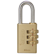 National Hardware S826-983 Stanley Multi-Use Indoor 1-3/16 Inch 30Mm 3 Digit Combination Padlock Solid Brass Body