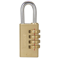 National Hardware S826-989 Stanley Multi-Use Indoor 1-3/16 Inch 30Mm 4 Digit Combination Padlock Solid Brass Body