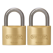 National Hardware S827-411 Stanley 2 Inch Outdoor 50Mm Hardened Shackle Padlock Grade 4 2-Pack