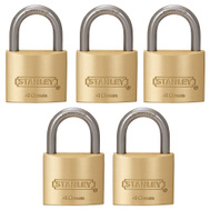 National Hardware S827-435 Stanley Outdoor Padlocks 1-9/16 Inch 40Mm Cast Brass Body Hardened Steel Shackle 5 Pack