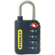 National Hardware S822-021 Stanley TravelMax TSA Approved 4 Digit Luggage Padlock 1-3/16 Inch (30Mm) Wide Black