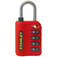 National Hardware S822-025 Stanley TravelMax TSA Approved 4 Digit Luggage Padlock 1-3/16 Inch (30Mm) Wide Red