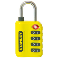 National Hardware S822-029 Stanley TravelMax TSA Approved 4 Digit Luggage Padlock 1-3/16 Inch (30Mm) Wide Yellow