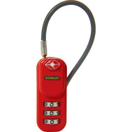 National Hardware S822-041 Stanley TravelMax TSA Approved 3 Digit Luggage Cable Padlock 3/4 Inch (20Mm) Wide Red