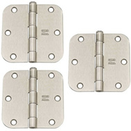 National Hardware N830-328 Door Hinges 3-1/2 Inch 5/8 Radius Satin Nickel 3 Pack