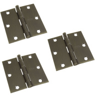 National Hardware N830-329 3-1/2 Inch Square Corner Door Hinges Antique Brass 3 Pack