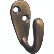 National Hardware N830-140 Single Prong Robe Hook Antique Brass