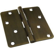 National Hardware N830-174 S849-422 Gatehouse 4 Inch 1/4 Radius Door Hinge Antique Brass