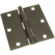 National Hardware N830-176 S808-030 N176-636 S082-761 N142-901 3-1/2 Inch Square Corner Door Hinge Antique Brass