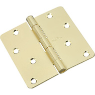 National Hardware N830-210 4 Inch 1/4 Radius Door Hinge Polished Brass