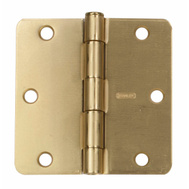 National Hardware N830-227 3-1/2 Inch 1/4 Radius Door Hinge Satin Brass