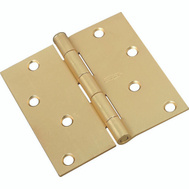 National Hardware N830-231 Door Hinge 4 Inch Square Corner Satin Brass