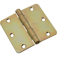 National Hardware N830-263 3-1/2 Inch 1/4 Radius Door Hinge Brass Tone