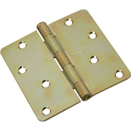 National Hardware N830-264 Stanley National Hardware Door Hinge 4 Inch 1/4 Radius Satin Brass Tone