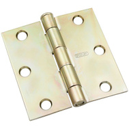 National Hardware N830-266 Square Corner 3-1/2 Inch Door Hinge Brass Tone