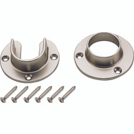 National Hardware S822-082 Heavy Duty Closet Flange Set For 1-5/16 Inch Metal Poles Die Cast Satin Nickel