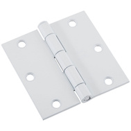 National Hardware N109-180 3 Inch Square Corner Door Hinge White Enamel