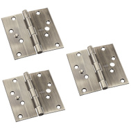 National Hardware N830-400 Security Stud 4 Inch Square Corner Door Hinges Antique Brass 3 Pack